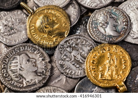 Ancient coin of the Roman Empire. - stock photo