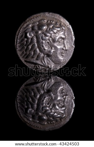 Ancient Coin Reflection - Alexander - stock photo