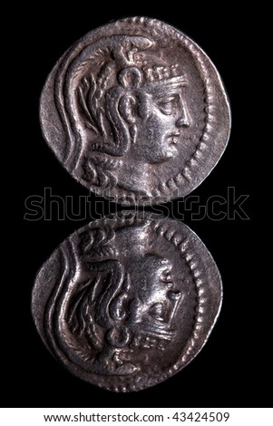 Ancient Coin Reflection - Athens - stock photo