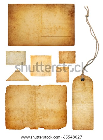 Ancient collection isolated on white - stock photo