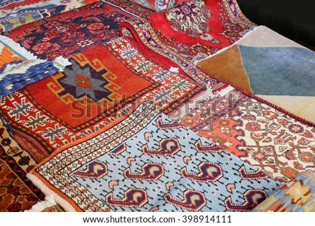 ancient colored wool rugs handmade - stock photo