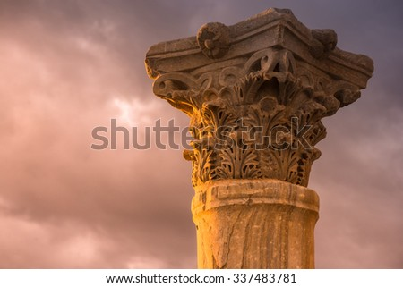 Ancient column at the Roman city of Kourion. Limassol District, Cyprus. Color tone tuned. - stock photo