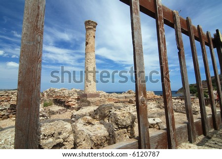 Ancient column is framed in the wooden fence
