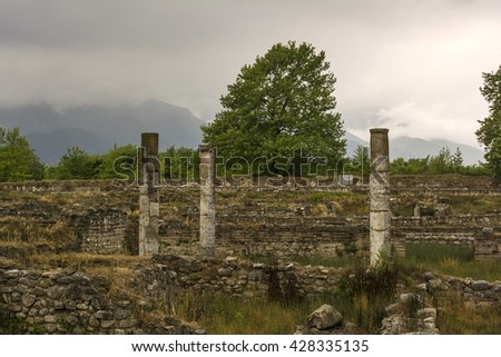 Ancient column ruins in the Dion Archaeological Site at Greece - stock photo