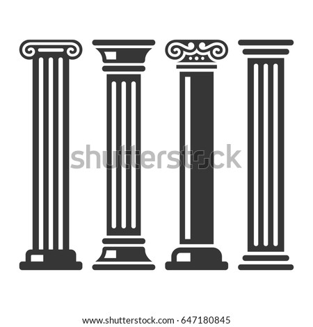 Ancient Columns Icon Set on White Background. illustration