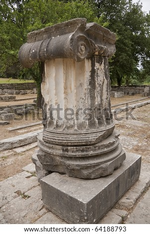 Ancient Columns in Greece, Mount Olympus - stock photo