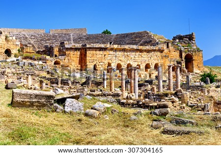 Ancient columns in Hierapolis, Pamukkale, Turkey - stock photo