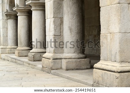 Ancient columns in perspective vintage architecture horizontal view - stock photo
