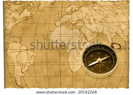 Ancient compass. The old device for the instruction of a direction and an old card - stock photo