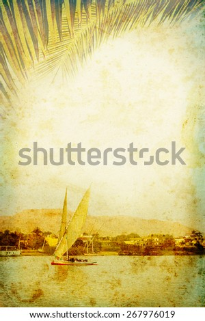 Ancient concept about the expedition and adventures in Africa in retro style. Vintage poster for exotic travel in a tropical country. - stock photo