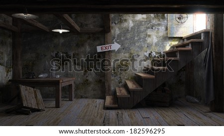 ancient concept room shelter interior with signboard