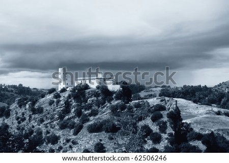 ancient convent isolated on the mountain - stock photo