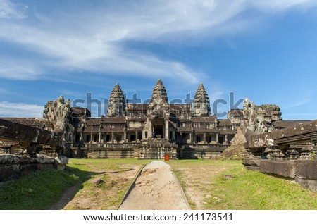 Ancient corridor at Angkor Wat in Siem Reap, Cambodia