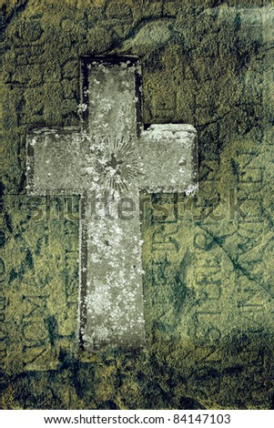 Ancient cross in a grungy way with headstone over 300 years old. - stock photo