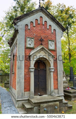Ancient crypt at Lychakiv Cemetery in Lviv, Ukraine. Lychakiv Cemetery is one of the most visited touristic places in Lviv.