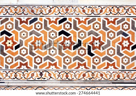 Ancient decorative mosaic on marble, India - stock photo