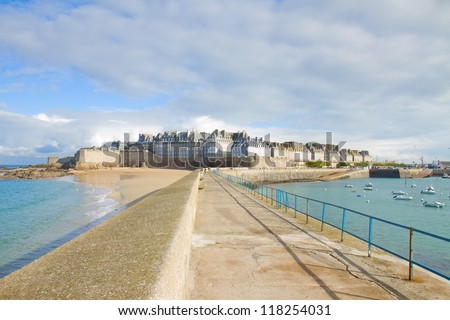 Ancient defensive walls of the city of St Malo, France - stock photo
