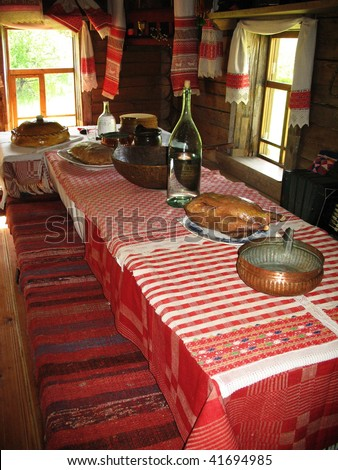 Ancient dinner room in russian country Novgorod Russia - stock photo