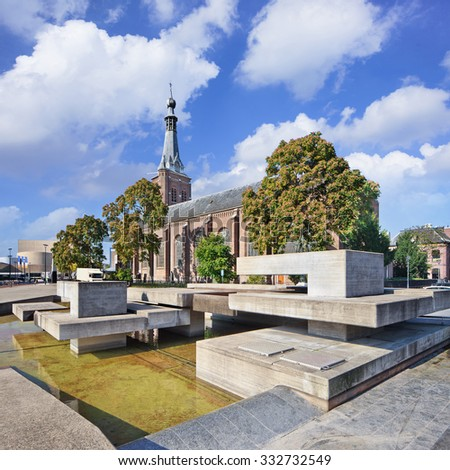 Ancient Dionysius Heikese Kerk, downtown area Tilburg, The Netherlands. - stock photo