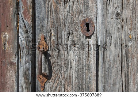 ancient door close up  in Sicily, Italy, Mediterranean, Europe - stock photo