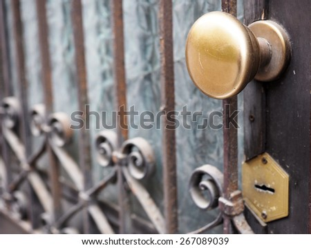 Ancient door gate with brass knob and keyhole - stock photo