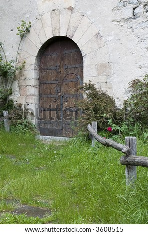 Ancient door in the church of Setcases ( Ripolles ), Girona province, Catalonia, Spain