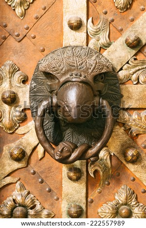 Ancient door knocer in eagle form  on St. Vitus Prague cathedral - stock photo