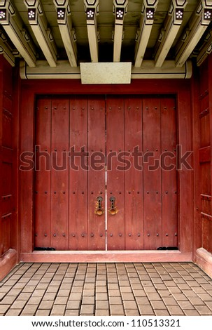 Ancient door Korean style - stock photo