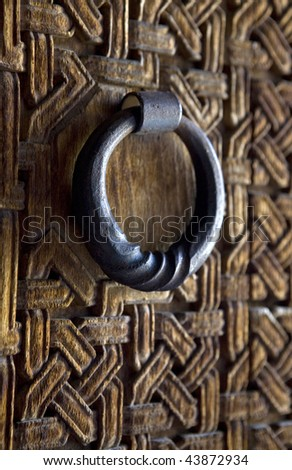 ancient door lock - stock photo