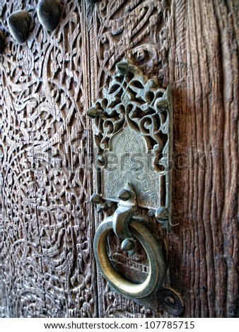 Ancient doorhandle in Khiva. Uzbekistan - stock photo