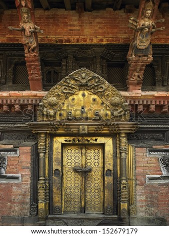 Ancient doorway in the Royal Palace in Durbar Square in the Patan district of Kathmandu. Nepal
