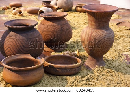 Ancient  Earthenware, Ban Chiang, Udornthani, Thailand - stock photo
