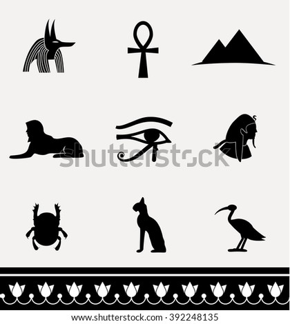 Ancient Egypt. Collection of symbolic icons isolated on bright background.