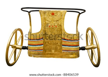 Ancient Egyptian ceremonial chariot isolated with clipping path. Modern copy inspired by those found in the tomb of Tutankhamen. - stock photo