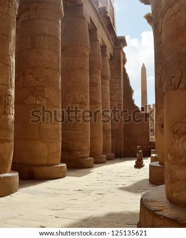 Ancient Egyptian Columns at Hypostyle Hall. Karnak Temple, Luxor, Egypt - stock photo