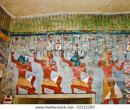 Ancient Egyptian Gods and hieroglyphs in wall painting
