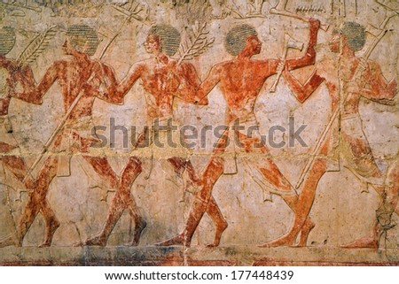 Ancient Egyptian hieroglyphs, Mortuary Temple of Queen Hatshepsut (Deir Al-Bahri), West Bank of the Nile Valley, Luxor, Egypt - stock photo