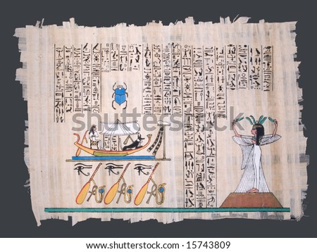 ancient egyptian papyrus with nile boat, goddess and hieroglyphs - stock photo
