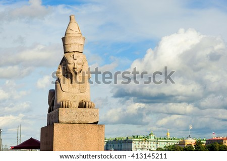 Ancient Egyptian sphinx on Universitetskaya embankment of Neva river, St Petersburg, Russia