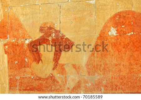 Ancient Egyptians loading henna during a trade mission with the land of Punt - stock photo