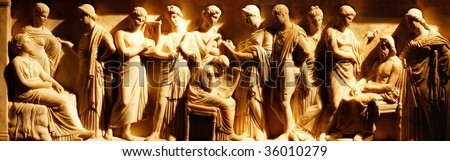 Ancient etruscan art in the Archaeological Museum, Siena, Italy  - stock photo