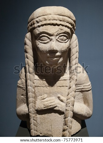 Ancient etruscan art, magnificent tomb. Chiusi, Tuscany, Italy - stock photo