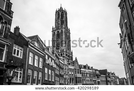 Ancient European church. Utrecht - Holland. Black-white photo. - stock photo