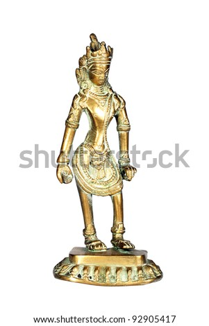 Ancient figure of Indian God isolated over white with clipping path - stock photo