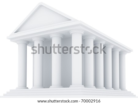 Ancient Financial building isolated on white