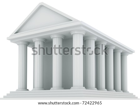 Ancient Financial building isolated on white - stock photo