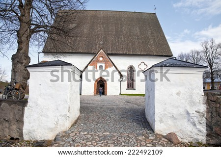 Ancient Finnish city. Municipal landscape. Cathedral  - stock photo