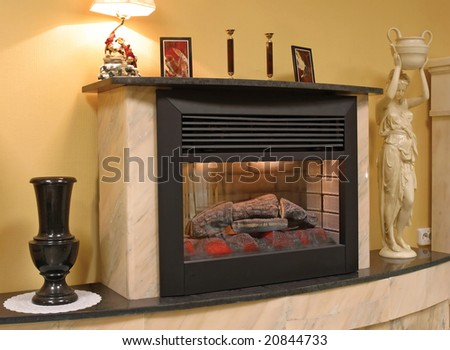 ancient fireplace - stock photo