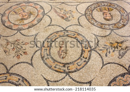 Ancient Floor Mosaic in the Basilica of Aquileia, Italy - stock photo