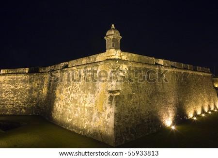 Ancient fort called El Morro in San Juan, Puerto Rico. - stock photo